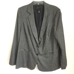 Lane Bryant Suit Blazer Jacket Black White Lined